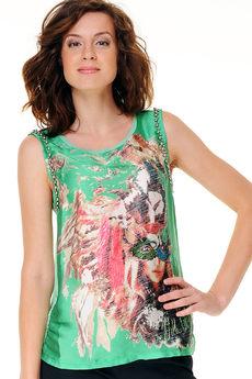 Атласная футболка, расшитая бусинами Mondigo