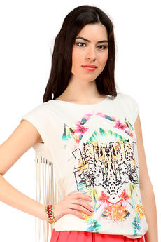 Стильная футболка с бахромой на спине Mondigo со скидкой