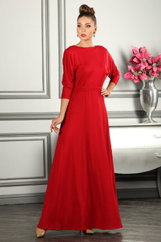 Красное вечернее платье в пол с длинными рукавами Mondigo