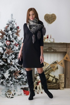 Черное платье футляр с рукавом Шарлиз
