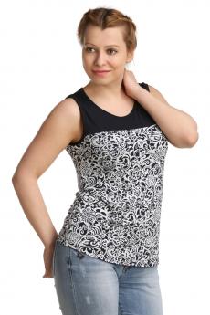 Блузка с черно-белым узором ElenaTex со скидкой